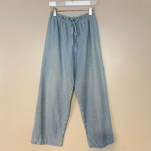Vintage Striped Chambray Pull On Ankle Pant